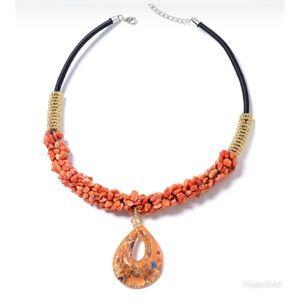 Orange Coral, Orange Murano Style Necklace